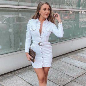 White Long Sleeve Denim Jeans Bodycon Mini Dress